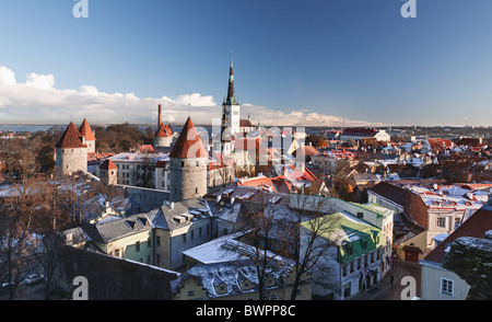 Tallinn in Estonia taken from the overlook in Toompea showing the town walls and churches - Stock Photo