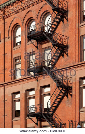 Exterior fire escape on the old Gooderham Building in downtown Toronto Ontario Canada - Stock Photo