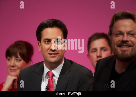 Comedian Eddie Izzard chairs a Q&A with Labour leader Ed Miliband and young delegates at the Labour Party Conference - Stock Photo
