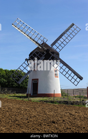Windmill in Vila do Porto, Isle of Santa Maria - Stock Photo