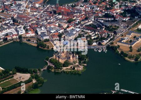 Aerial photograph of Schwerin Castle, Mecklenburg-Vorpommern, Germany - Stock Photo