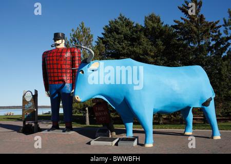 Paul Bunyan and Babe the Blue Ox Sculpture, Bemidji, Minnesota - Stock Photo
