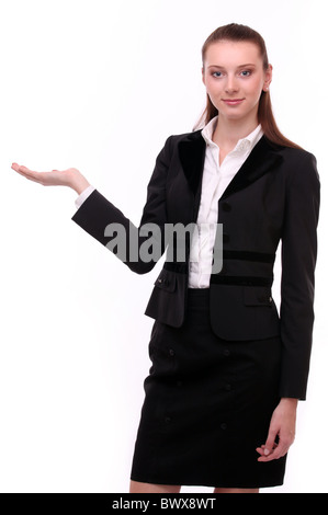 Business woman shows empty hand. Isolated on a white background. - Stock Photo