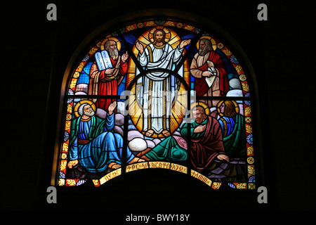 Stained Glass Window In Holy Trinity Cathedral, Addis Ababa, Ethiopia - Stock Photo