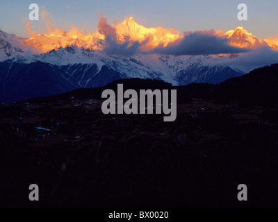 Majestic view of Kawa Karpo Peak in sunset, Meili Snow Mountain, Shangri-la, DiQing Tibetan Autonomous Prefecture, - Stock Photo