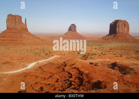 famous through Wild West movies : Monument valley in Utah - USA, United States of America - Stock Photo