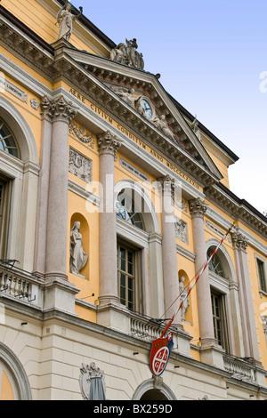 Town hall, Piazza della Riforma, Lugano, Switzerland - Stock Photo