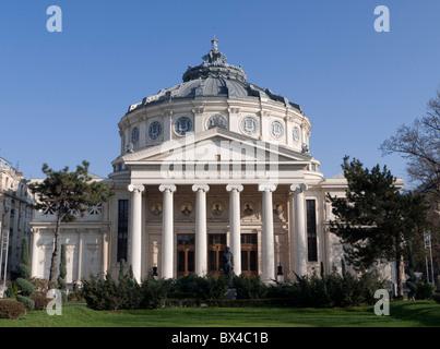 The Romanian Athenaeum (Atheneul Roman) in Bucharest Romania - Stock Photo