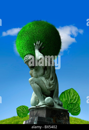 Atlas carrying a green planet, artwork - Stock Photo