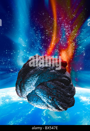 Meteor approaching Earth, artwork - Stock Photo