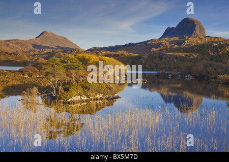 Two mountains of Suilven and Canisp from Loch Druim Suardalain, Sutherland, North west Scotland, United Kingdom, - Stock Photo