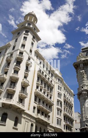 Buildings on Plaza Fabini, Montevideo Center, Uruguay, South America - Stock Photo