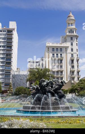 Plaza Fabini fountain, Montevideo Center, Uruguay, South America - Stock Photo