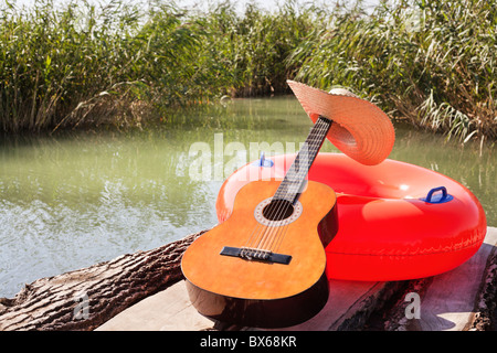 Chill out time by the lake - Stock Photo