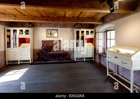 room, sofa, couch, Sigmund Freud, psychoanalyst, native house, Pribor - Stock Photo