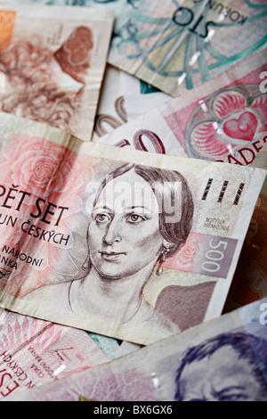 Czech Crown, money, finances, currency of Czech Republic. (CTK Photo/Josef Horazny) - Stock Photo