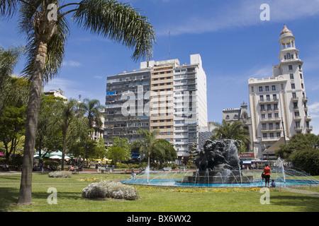 Plaza Fabini fountain, city center, Montevideo, Uruguay, South America - Stock Photo