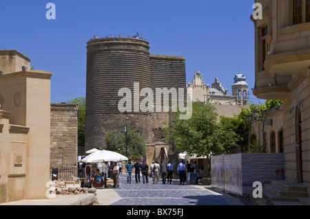 Maiden Tower in the center of the old town of Baku, UNESCO World Heritage Site, Azerbaijan, Central Asia, Asia - Stock Photo