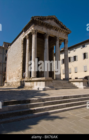 Temple of Rome and Augustus built on the forum during the reign of the Roman emperor Augustus, Pula, Istria, Croatia, - Stock Photo