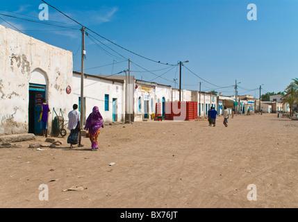 Street scene in Tadjoura, Republic of Djibouti, Africa - Stock Photo