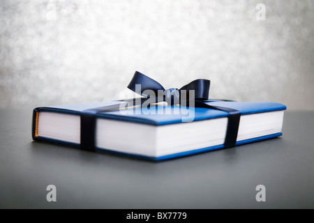 Book wrapped in blue paper - Stock Photo