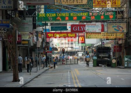 Nathan Road, Kowloon, Hong Kong, China - early morning. - Stock Photo