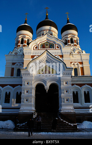 Alexander Nevsky cathedral in Toompea. Christmas in Tallin Estonia - Stock Photo