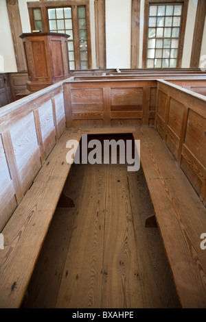 Inside of St. James Santee Episcopal Church showing box pews in 1768 McClellanville, SC.  - Stock Photo