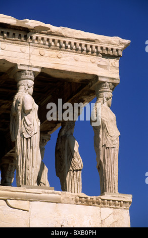 greece, athens, acropolis, erechtheion statues detail, caryatids - Stock Photo