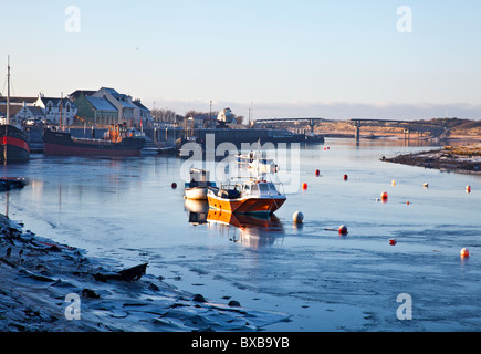 Dawn in Irvine Harbour on a very cold mid-December morning. North Ayrshire, Scotland, UK, Great Britain - Stock Photo