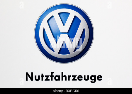 Logo of the Volkswagen Nutzfahrzeuge car brand for commercial vehicles - Stock Photo