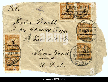 post, stamps on letter, inflation letter with postage, Germany, 1923, 1920s, 20s, 20th century, historic, historical, - Stock Photo