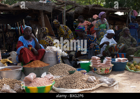 Peanuts and beans sold on a local  market  in Mali - Stock Photo