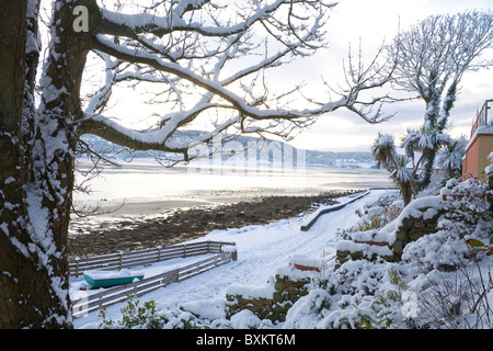 Red Wharf Bay Isle of Anglesey North Wales UK December View on a winters day after an unusually heavy snowfall - Stock Photo