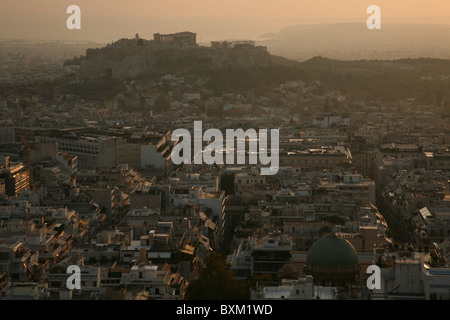 View to the Acropolis of Athens from Mount Lycabettus in Greece. - Stock Photo
