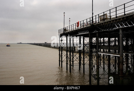 Southend pier, longest pier in the world.winter snow covered - Stock Photo