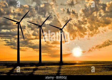 Three windturbines in sunset - Stock Photo