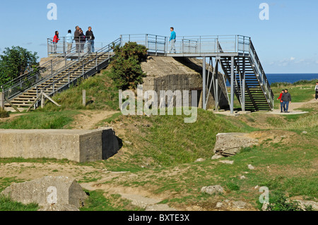 Viewpoint on remains of German bunkers at the Pointe du Hoc near Isigny sur Mer in the Calvados (14) departement - Stock Photo