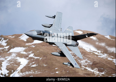 A Royal Air Force Tornado GR4 during low fly training in North Wales. - Stock Photo