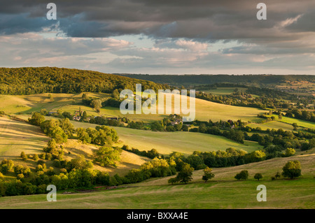 View from Haresfield Beacon, near Stroud, Gloucestershire, Cotswolds, UK - Stock Photo