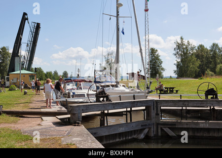 Locking of pleasure boats on the canal - Stock Photo
