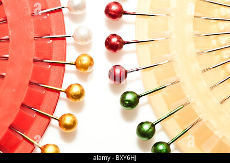 pins with coloured heads - Stock Photo