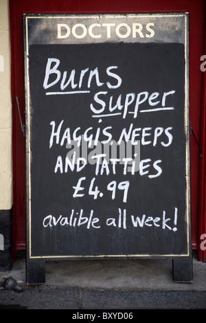 Burns Supper  Menu Sign Edinburgh Scotland - Stock Photo