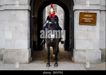 A member of the Household Cavalry Mounted Regiment, at Whitehall, London, UK - Stock Photo