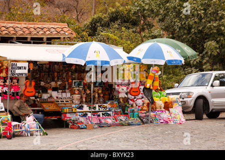 Street trader with stall in the deserted village of Fikardou on the slopes of the Troodos Masiff, Cyprus. - Stock Photo