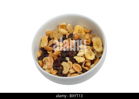 Trail mix in bowl on white background - Stock Photo