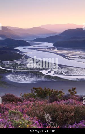 Dawn breaks over the Mawddach Estuary, West Wales - Stock Photo