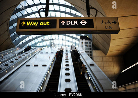 Way Out Sign at Canary Wharf Tube Station - Stock Photo