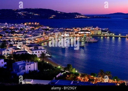 A panoramic view of the harbor of the Hora of Mykonos island, Greece. - Stock Photo
