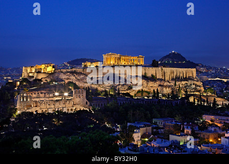 The Acropolis of Athens in the 'blue' hour - Stock Photo